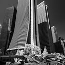 Downtown Tokyo Skyscrapers in Infrared by Jens Roesner
