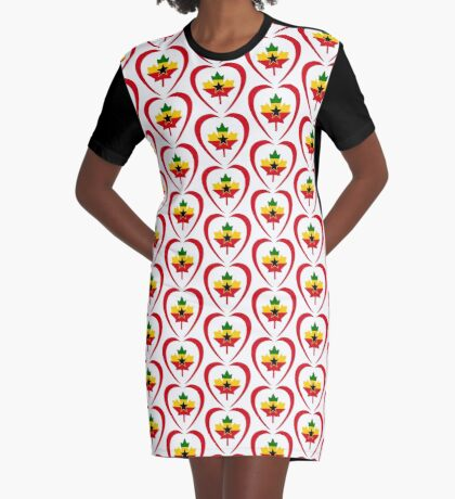 Ghanaian Canadian Multinational Patriot Flag Series (Heart) Graphic T-Shirt Dress