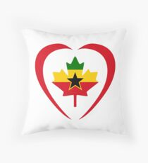 Ghanaian Canadian Multinational Patriot Flag Series (Heart) Throw Pillow