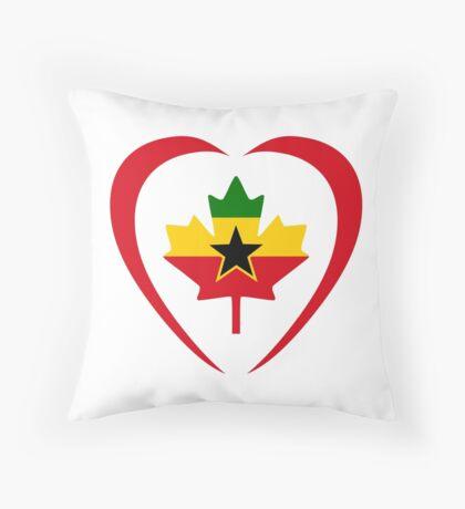 Ghanaian Canadian Multinational Patriot Flag Series (Heart) Throw Pillow