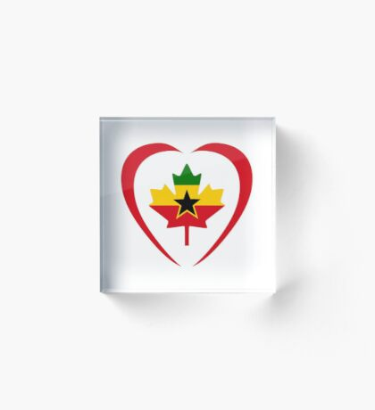 Ghanaian Canadian Multinational Patriot Flag Series (Heart) Acrylic Block