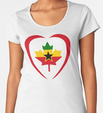 Ghanaian Canadian Multinational Patriot Flag Series (Heart) Premium Scoop T-Shirt