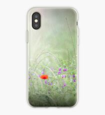 Rain on Poppies and Sweet Peas iPhone Case