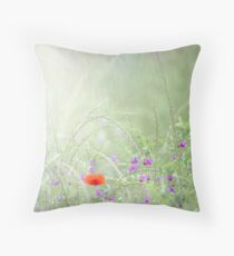 Rain on Poppies and Sweet Peas Throw Pillow