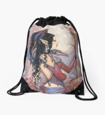 Dragon Girl Gothic Fantasy Art by Molly Harrison Drawstring Bag