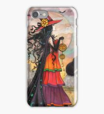 Witch Way Halloween Witch and Black Cat Fantasy Art iPhone Case/Skin