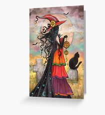 Wiccan greeting cards redbubble witch way halloween witch and black cat fantasy art greeting card m4hsunfo