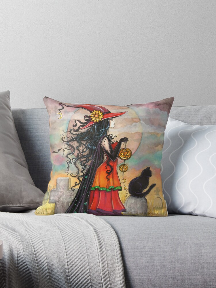 Witch Way Halloween Witch and Black Cat Fantasy Art by Molly  Harrison