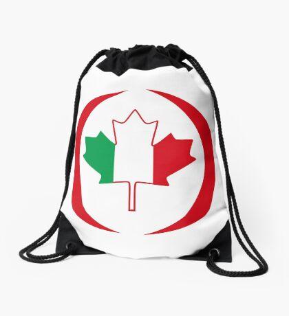 Italian Canadian Multinational Patriot Flag Series Drawstring Bag