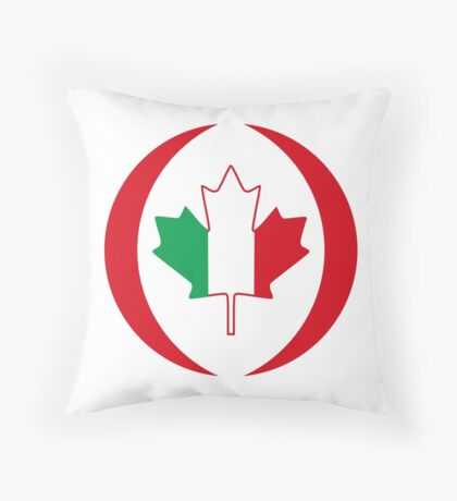 Italian Canadian Multinational Patriot Flag Series Throw Pillow