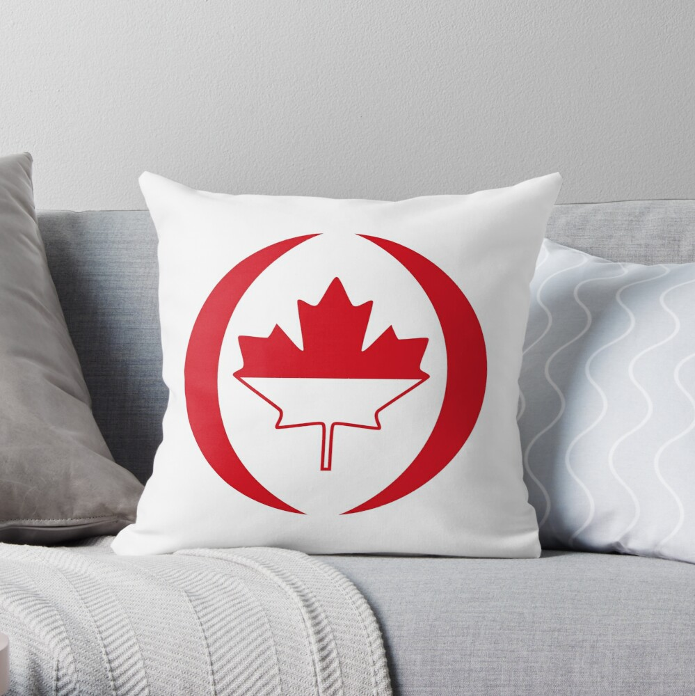 Indonesian Canadian Multinational Patriot Flag Series Throw Pillow