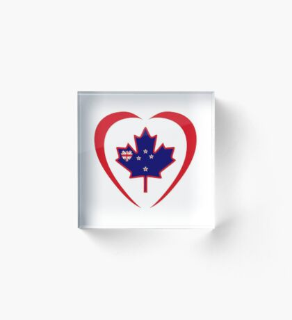 Kiwi Canadian Multinational Patriot Flag Series (Heart) Acrylic Block