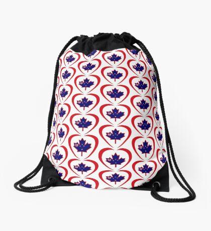 Kiwi Canadian Multinational Patriot Flag Series (Heart) Drawstring Bag
