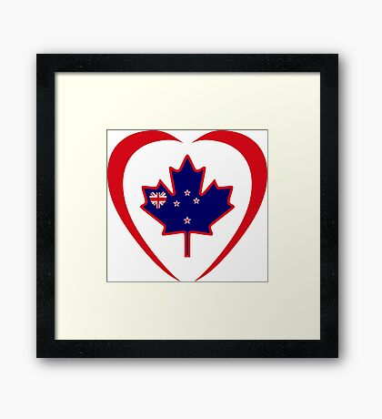 Kiwi Canadian Multinational Patriot Flag Series (Heart) Framed Print