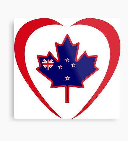Kiwi Canadian Multinational Patriot Flag Series (Heart) Metal Print