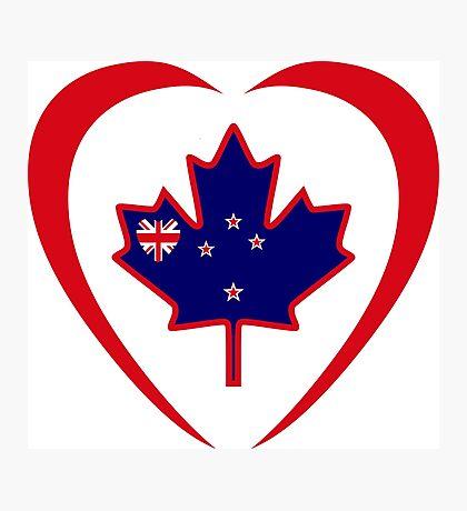 Kiwi Canadian Multinational Patriot Flag Series (Heart) Photographic Print