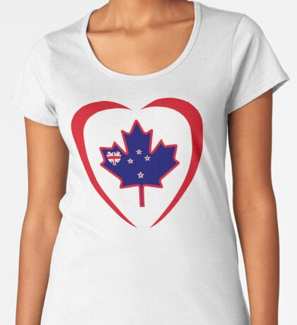 Kiwi Canadian Multinational Patriot Flag Series (Heart) Premium Scoop T-Shirt