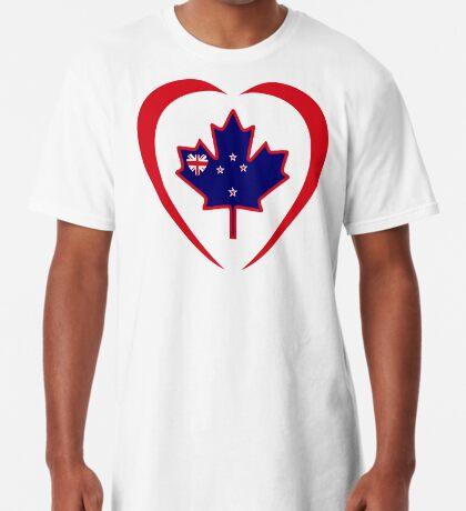 Kiwi Canadian Multinational Patriot Flag Series (Heart) Long T-Shirt