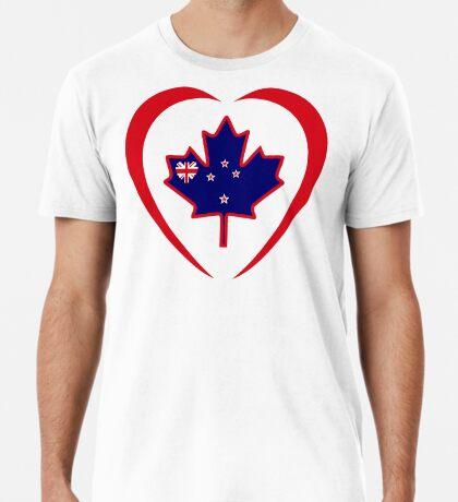 Kiwi Canadian Multinational Patriot Flag Series (Heart) Premium T-Shirt