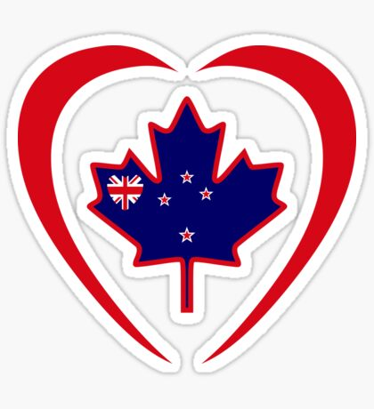 Kiwi Canadian Multinational Patriot Flag Series (Heart) Sticker