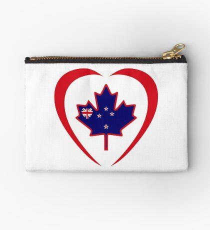Kiwi Canadian Multinational Patriot Flag Series (Heart) Zipper Pouch
