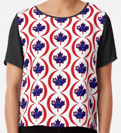 Kiwi Canadian Multinational Patriot Flag Series Chiffon Top