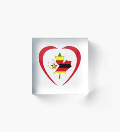 Zimbabwean Canadian Multinational Patriot Flag Series (Heart) Acrylic Block