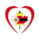 Zimbabwean Canadian Multinational Patriot Flag Series (Heart) by Carbon-Fibre Media