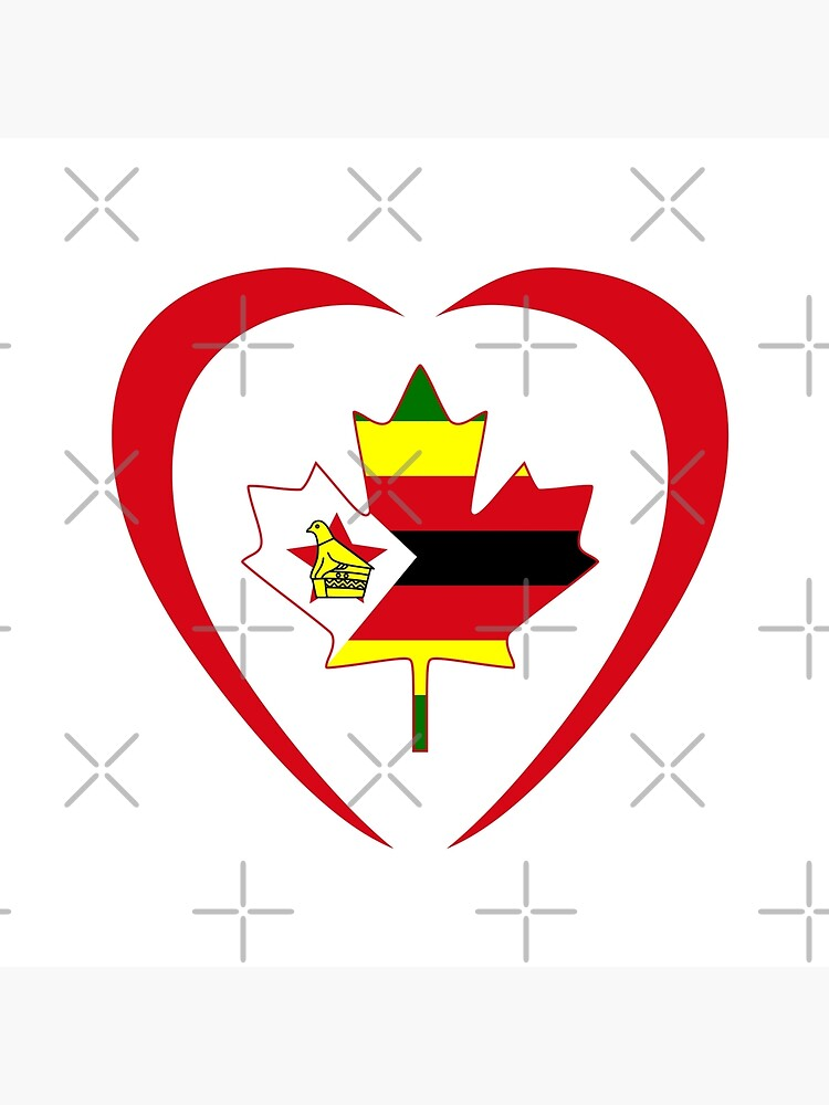 Zimbabwean Canadian Multinational Patriot Flag Series (Heart) by carbonfibreme