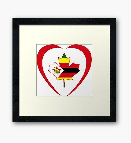 Zimbabwean Canadian Multinational Patriot Flag Series (Heart) Framed Print