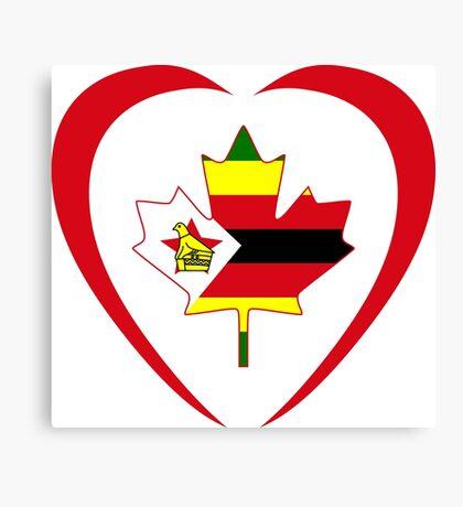 Zimbabwean Canadian Multinational Patriot Flag Series (Heart) Canvas Print