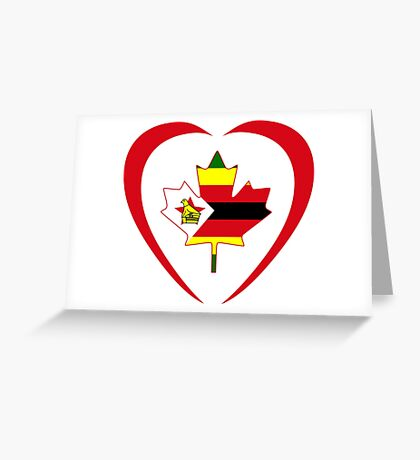 Zimbabwean Canadian Multinational Patriot Flag Series (Heart) Greeting Card