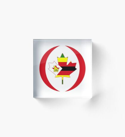 Zimbabwean Canadian Multinational Patriot Flag Series Acrylic Block
