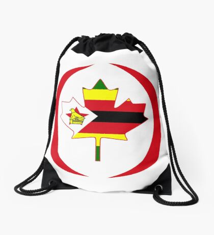 Zimbabwean Canadian Multinational Patriot Flag Series Drawstring Bag