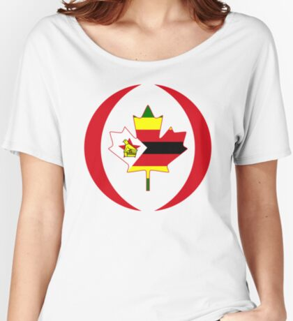 Zimbabwean Canadian Multinational Patriot Flag Series Relaxed Fit T-Shirt