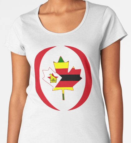 Zimbabwean Canadian Multinational Patriot Flag Series Premium Scoop T-Shirt