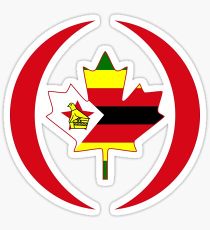 Zimbabwean Canadian Multinational Patriot Flag Series Glossy Sticker