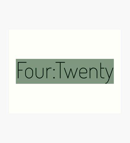 Four:Twenty 4:20 - Black with Green Art Print