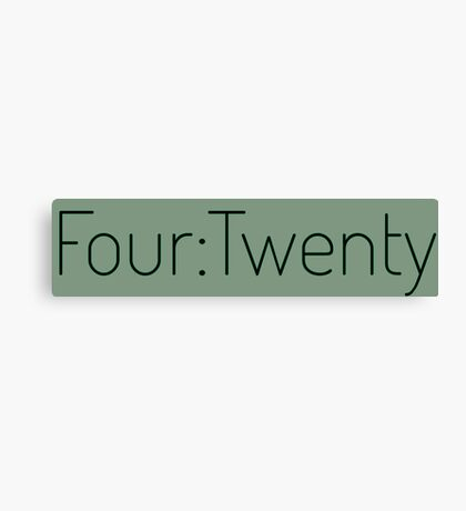 Four:Twenty 4:20 - Black with Green Canvas Print