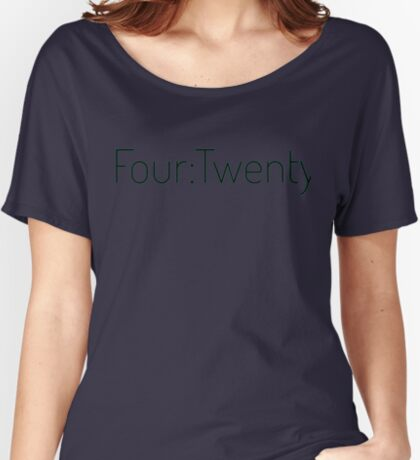 Four:Twenty 4:20 - Black with Green Relaxed Fit T-Shirt