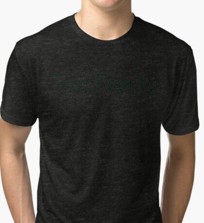 Four:Twenty 4:20 - Black with Green Tri-blend T-Shirt