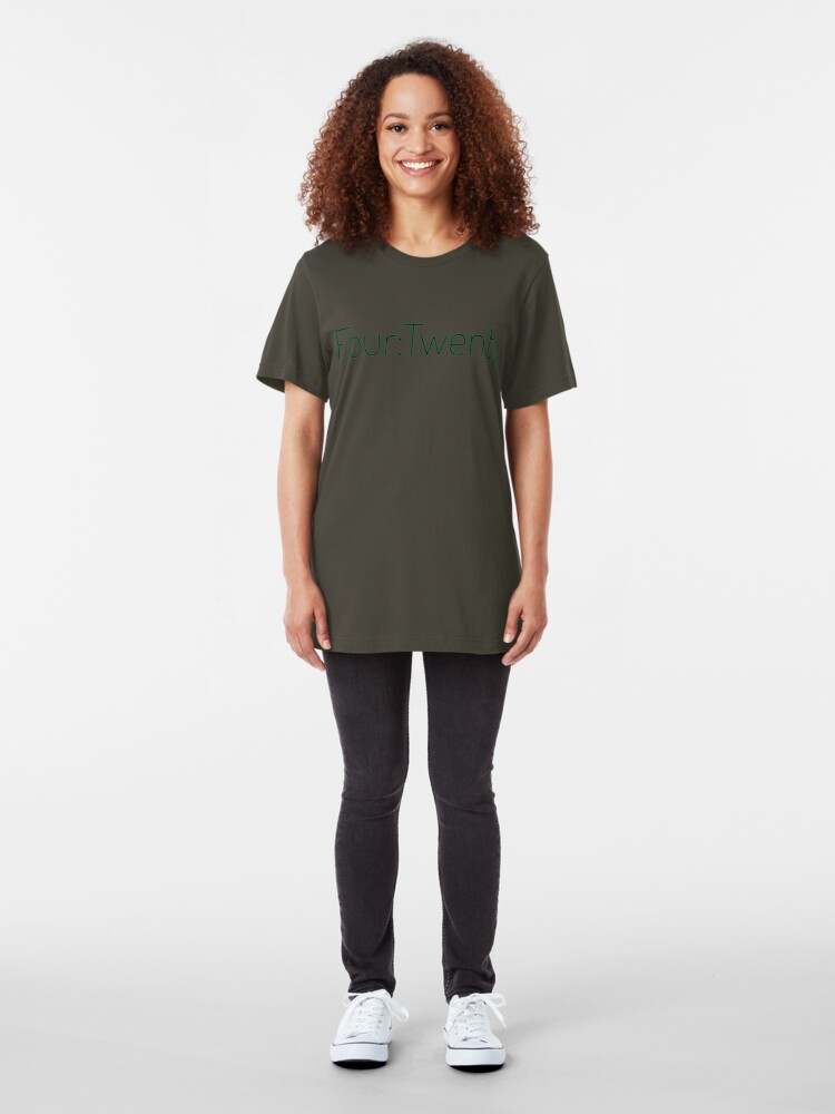 Alternate view of Four:Twenty 4:20 - Black with Green Slim Fit T-Shirt