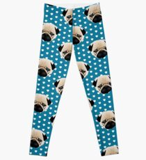 Pug Faces on Blue with White Hearts Leggings