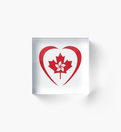 Hong Konger Canadian Multinational Patriot Flag Series (Heart) Acrylic Block