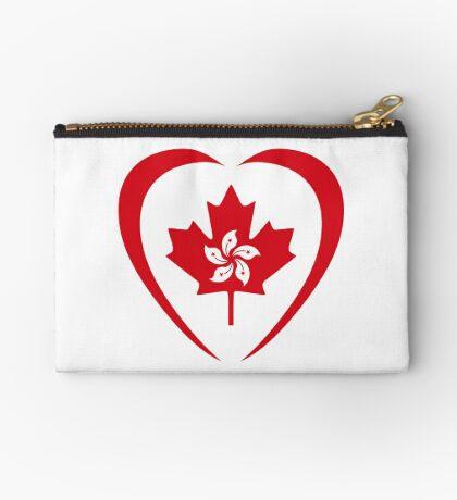 Hong Konger Canadian Multinational Patriot Flag Series (Heart) Zipper Pouch