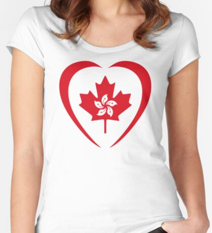 Hong Konger Canadian Multinational Patriot Flag Series (Heart) Fitted Scoop T-Shirt