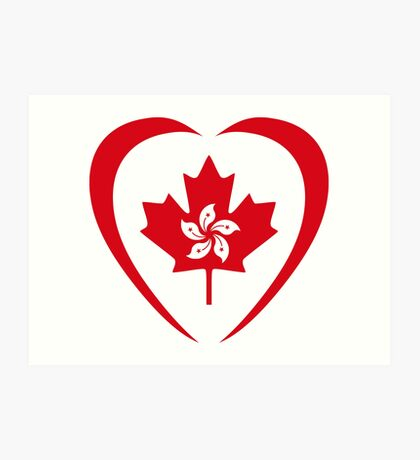 Hong Konger Canadian Multinational Patriot Flag Series (Heart) Art Print