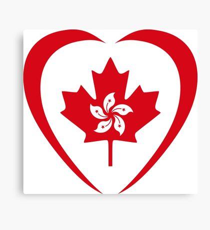 Hong Konger Canadian Multinational Patriot Flag Series (Heart) Canvas Print