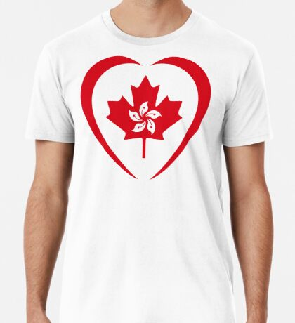 Hong Konger Canadian Multinational Patriot Flag Series (Heart) Premium T-Shirt