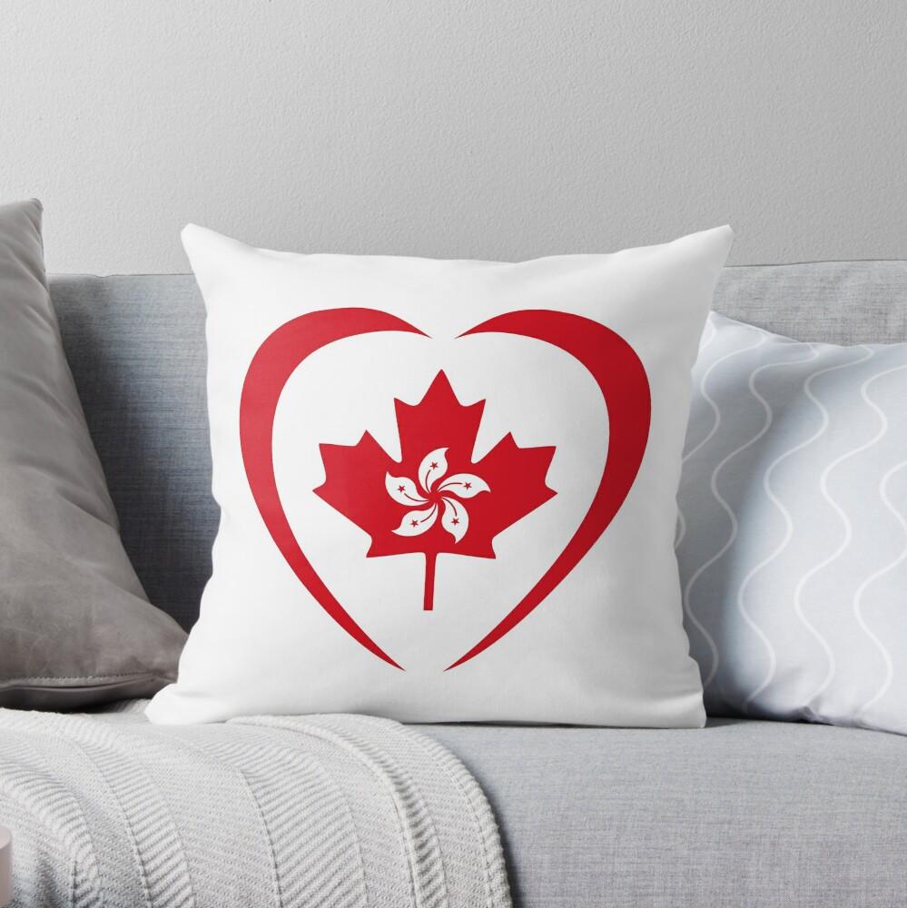 Hong Konger Canadian Multinational Patriot Flag Series (Heart) Throw Pillow
